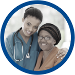 a nurse and an old woman smiling